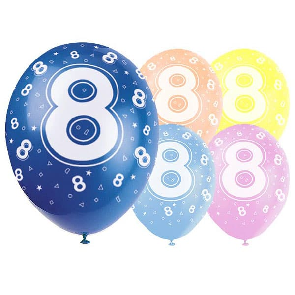 Latex Balloons 12 Inch Age 8 Pack Of
