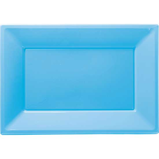 Light Blue Rectangular Plastic Serving Tray - 9 x 13 Inches / 23 x 33cm - Pack of 3
