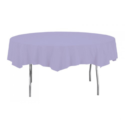 Lilac Round Plastic Tablecover 213cm