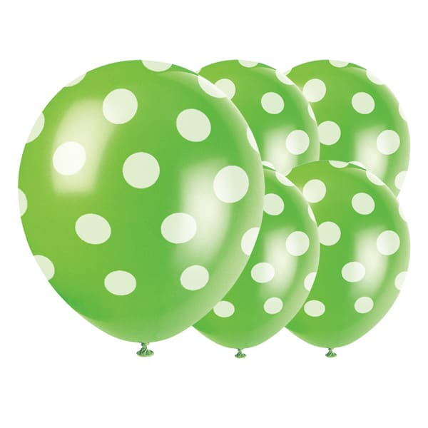 Lime Green Decorative Dots Biodegradable Latex Balloons - 12 Inches / 30cm - Pack of 6