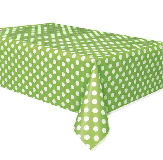 Lime Green Decorative Dots Plastic Tablecover 274cm x 137cm