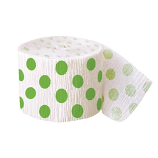 Lime Green Decorative Dots Streamer - 30 Ft / 9.1m