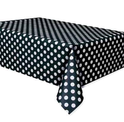 Midnight Black Decorative Dots Plastic Tablecover 274cm x 137cm
