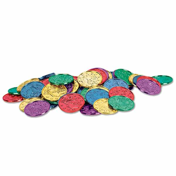 Multi Colour Plastic Coins - Pack of 100