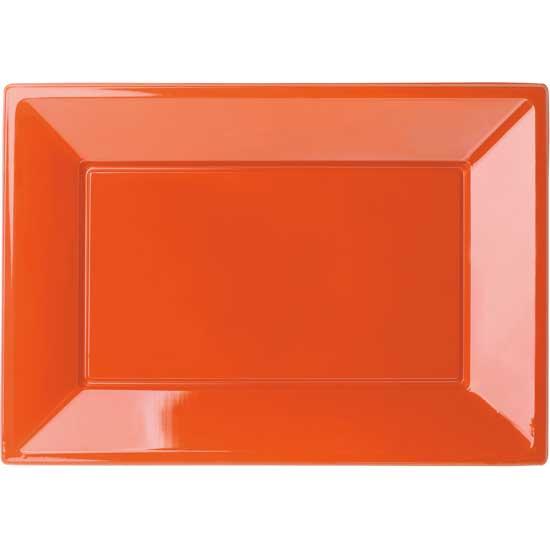 Orange Rectangular Plastic Serving Tray 32cm x 23cm - Pack of 3