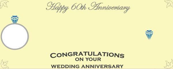 Happy 60th Diamond Anniversary Diamond Ring Medium Personalised Banner - 6ft x 2.25ft