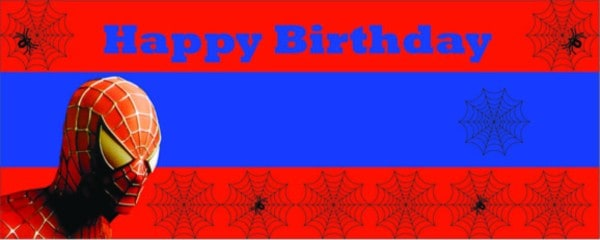 Spiderman Red and Blue Small Personalised Banner - 4ft x 2ft