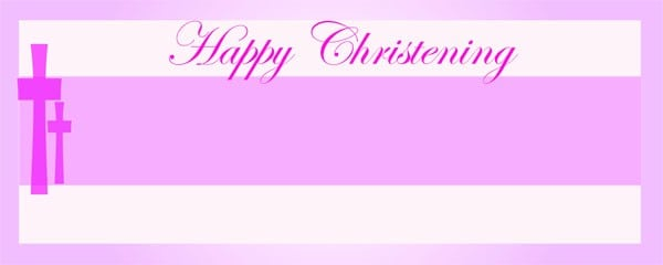 Happy Christening Pink and White Cross Small Personalised Banner - 4ft x 2ft