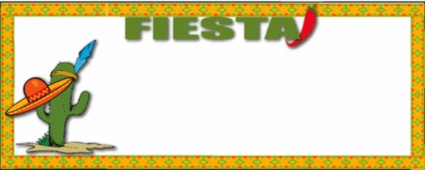 Fiesta Cactus and Sombrero Small Personalised Banner - 4ft x 2ft