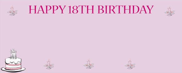 Happy 18th Birthday Pink Birthday Cake Small Personalised Banner- 4ft x 2ft