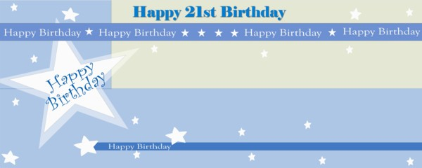 Happy 21st Birthday Shimmer Small Personalised Banner- 4ft x 2ft