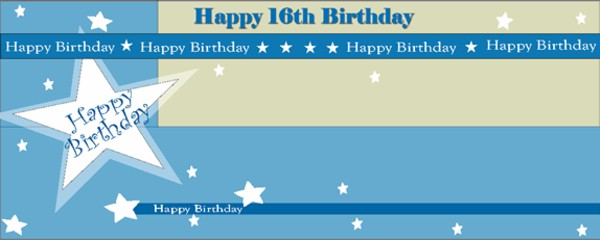 Happy 16th Birthday Shimmer Small Personalised Banner- 4ft x 2ft