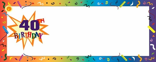 Happy 40th Birthday Confetti Small Personalised Banner- 4ft x 2ft