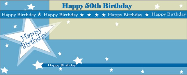 Happy 50th Birthday Shimmer Small Personalised Banner- 4ft x 2ft