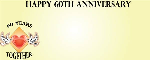 Happy 60th Anniversary Doves and Hearts Small Personalised Banner- 4ft x 2ft