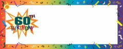 Happy 60th Birthday Confetti Small Personalised Banner – 4ft x 2ft