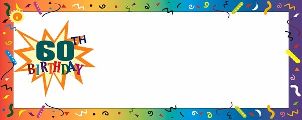 Happy 60th Birthday Confetti Medium Personalised Banner - 6ft x 2.25ft