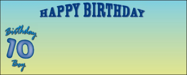 Blue Happy 10th Birthday Boy Small Personalised Banner- 4ft x 2ft