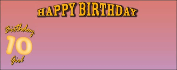 Pink Happy 10th Birthday Girl Small Personalised Banner- 4ft x 2ft