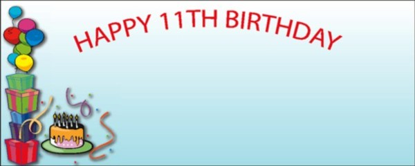 Blue Happy 11th Birthday Balloons Gifts And Cake Small Personalised Banner 4ft X 2ft