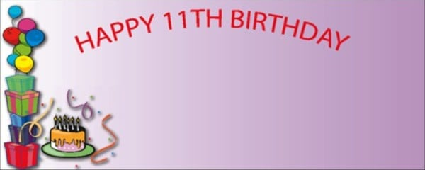 Pink Happy 11th Birthday Balloons, Gifts and Cake Large Personalised Banner - 10ft x 4ft
