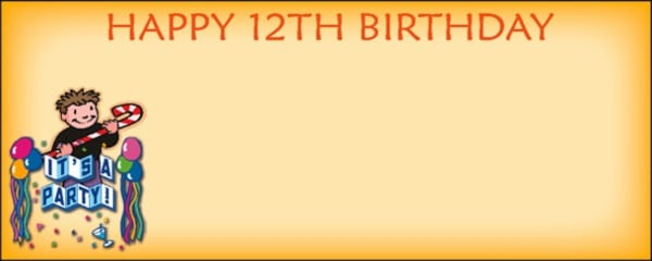 Orange Happy 12th Birthday It's a Party Boy with Candy Cane and Balloons Medium Personalised Banner - 6ft x 2.25ft