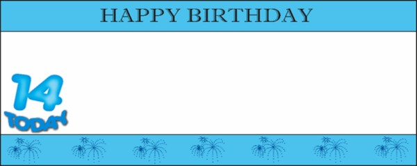 14 Today Blue Happy Birthday with White Stripe Large Personalised Banner - 10ft x 4ft