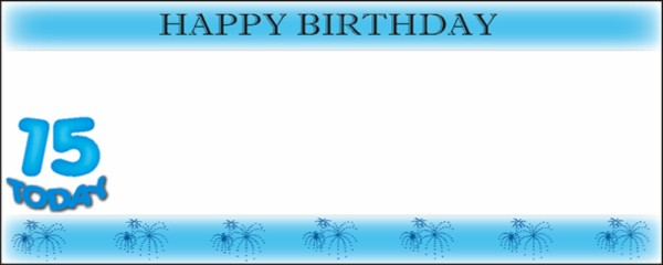 15 Today Blue Happy Birthday with White Stripe Medium Personalised Banner - 6ft x 2.25ft