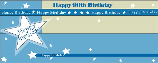 Happy 90th Birthday Shimmer Small Personalised Banner- 4ft x 2ft