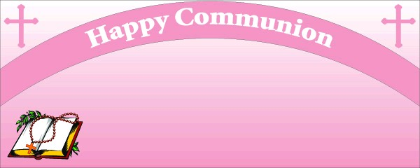 Happy Communion Pink Cross Sign and Book Small Personalised Banner - 4ft x 2ft