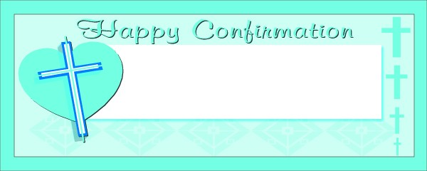 Happy Confirmation Blue Cross On Heart Small Personalised Banner- 4ft x 2ft