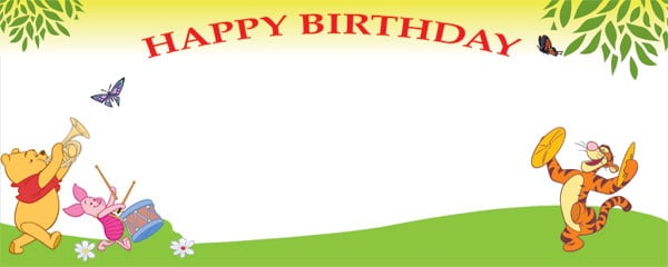 Happy Birthday Winnie and Tigger Small Personalised Banner - 4ft x 2ft