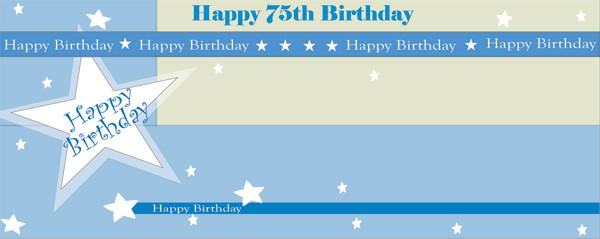 Happy 75th Birthday Shimmer Design Medium Personalised Banner - 6ft x 2.25ft