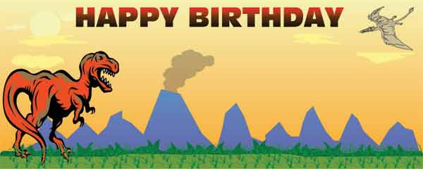 Dinosaur Theme Birthday Party Design Small Personalised Banner - 4ft x 2ft