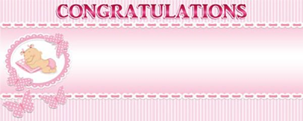 Congratulations Toys & Baby Things Small Personalised Banner- 4ft x 2ft