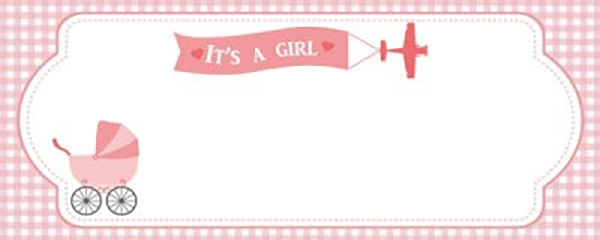 It's a Girl Special Delivery Medium Personalised Banner - 6ft x 2.25ft