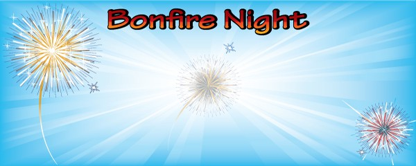 Bonfire Night Blue Explosion Design Small Personalised Banner - 4ft x 2ft