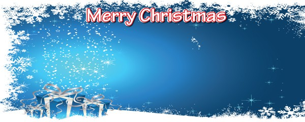 Merry Christmas Snow and Presents Design Small Personalised Banner - 4ft x 2ft