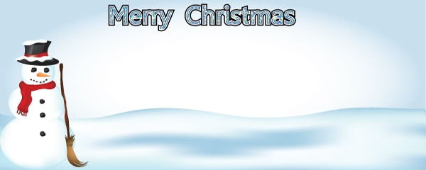 Merry Christmas and Snowman Design Small Personalised Banner - 4ft x 2ft