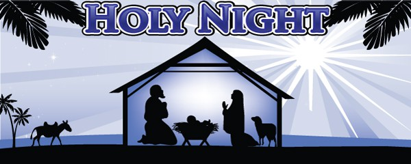 Holy Night Traditional Design Small Personalised Banner - 4ft x 2ft