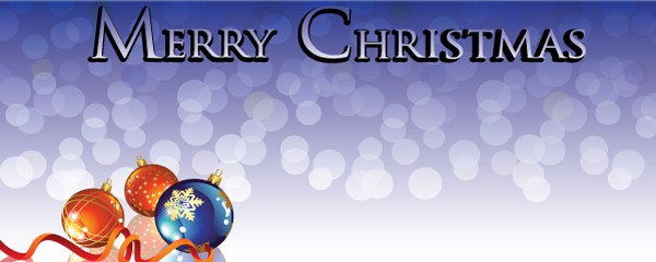 Merry Christmas Baubles Design Medium Personalised Banner - 6ft x 2.25ft