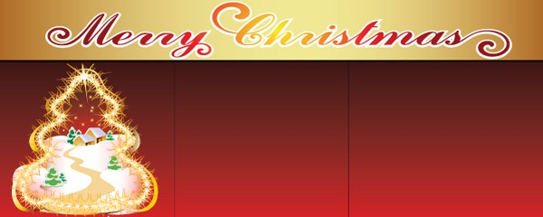 Red Christmas Tree and Village Design Medium Personalised Banner - 6ft x 2.25ft