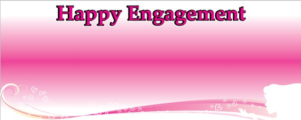 Happy Engagement Pink Kisses Design Medium Personalised Banner - 6ft x 2.25ft