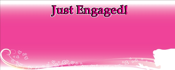 Just Engaged Pink Design Medium Personalised Banner - 6ft x 2.25ft
