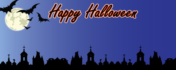 Halloween Midnight in the Grave Yard Design Small Personalised Banner - 4ft x 2ft