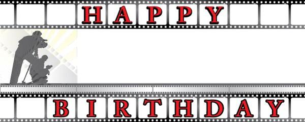 Happy Birthday Film Camera Personalised Banner Partyrama