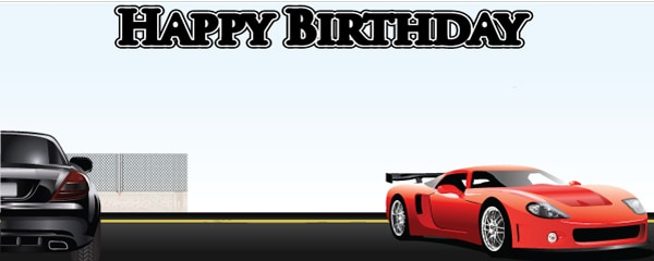 Super Car Fanatic Design Small Personalised Banner - 4ft x 2ft