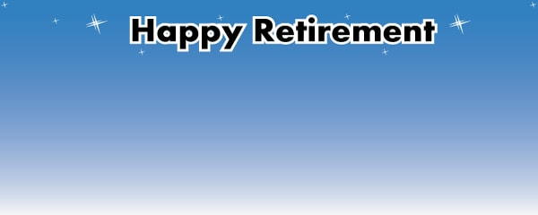 Happy Retirement Sky Blue Design Small Personalised Banner- 4ft x 2ft