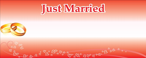 Just Married Gold Rings Design Small Personalised Banner - 4ft x 2ft