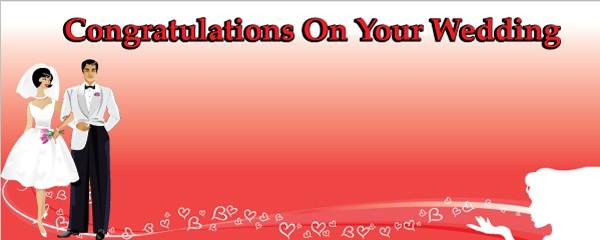 on Your Wedding Bride & Groom Personalised Banner | Partyrama.co.uk